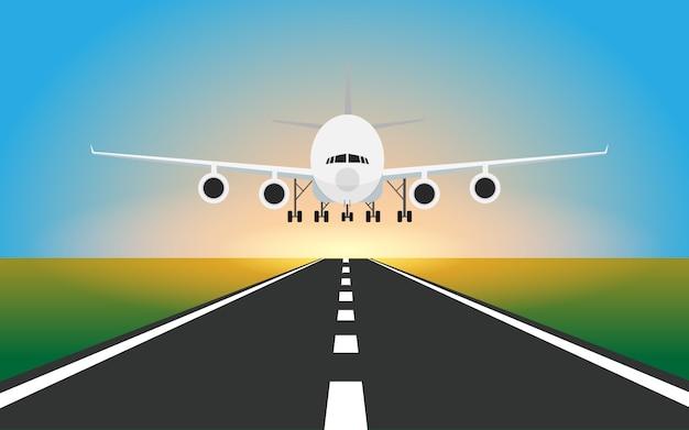 Het vliegtuig landt in de baan in de luchthaven