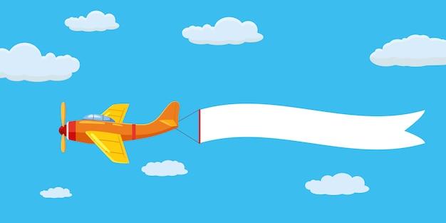 Het vliegtuigvliegtuigen van de snelheid met reclamebannerlint in de bewolkte hemel