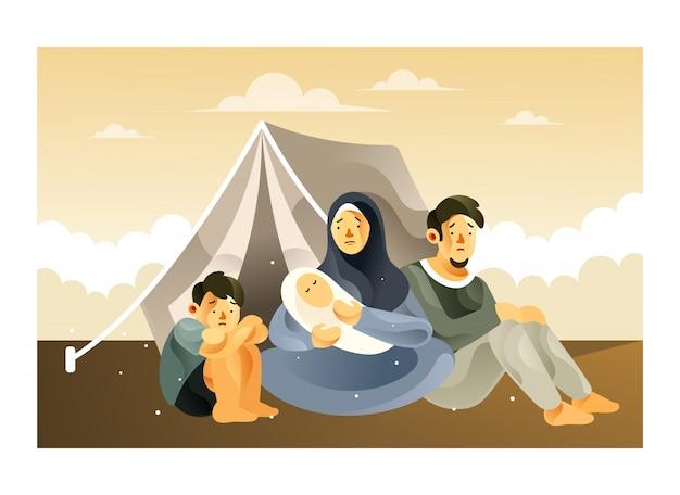 Het vluchtelingengezin in het vluchtelingenkamp