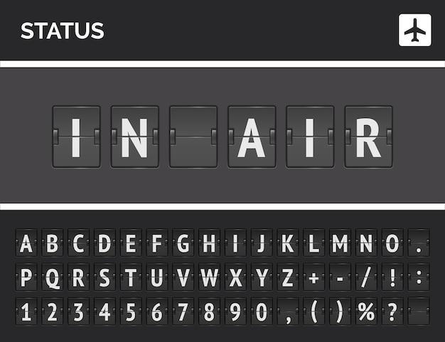 Het vluchtstatusbord zegt dat het vliegtuig in de lucht is. vector luchthaven analoog scorebord concept met flip 3d-lettertype
