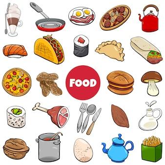 Het voedsel heeft grote vastgestelde beeldverhaalillustratie bezwaar