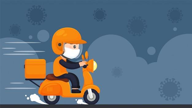 Het voedselbezorgingspersoneel rijdt op motorfietsen om voedsel te bezorgen tijdens een opsluiting thuis van het coronavirus.