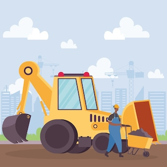 Het voertuig van het bouwgraafwerktuig en werknemer met ontwerp van de kruiwagen het vectorillustratie
