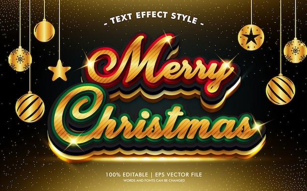 Het vrolijke goud van kerstmis schittert teksteffectstijl