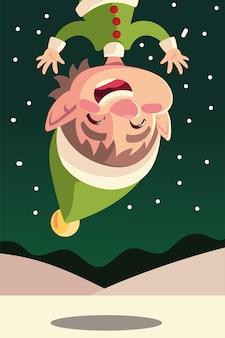 Het vrolijke karakter van de kerstmis leuke hangende helper op de illustratie van de sneeuwviering