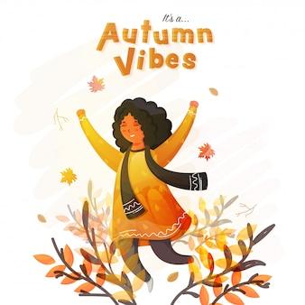 Het vrolijke leuke meisje in het springen stelt en abstracte bladeren op witte achtergrond want het is autumn vibes.