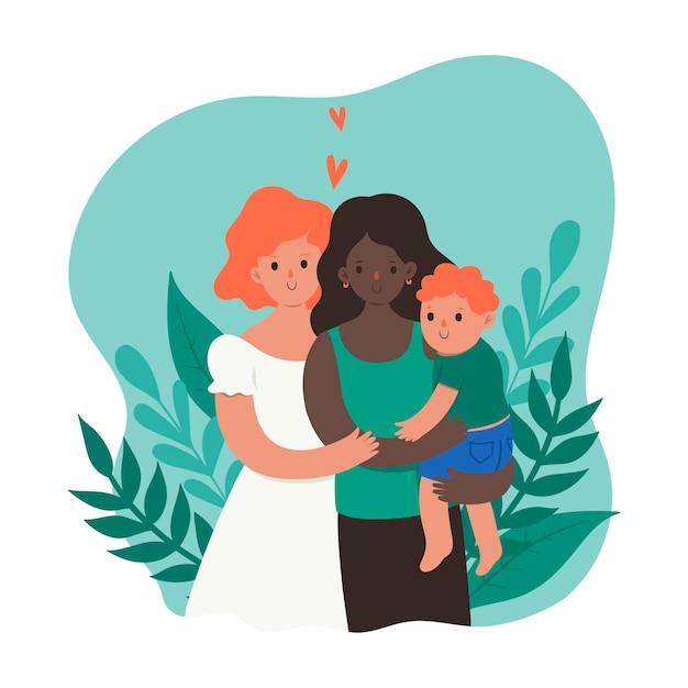 Het vrouwelijke homopaar met baby isoleert op witte achtergrond