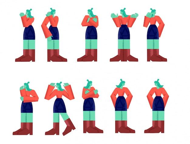Het vrouwelijke karakter dat persoonemotie toont en stelt grote die ledematenstijl op wit wordt geïsoleerd