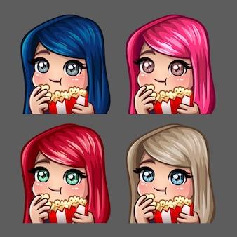 Het vrouwelijke wijfje van emotiepictogrammen eet popcorn met lange haren voor sociale netwerken en stickers