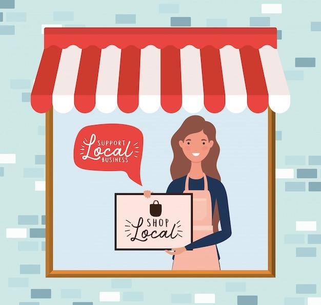 Het vrouwenbeeldverhaal met winkel lokaal aanplakbiljet in winkelontwerp van detailhandel koopt en marktthema