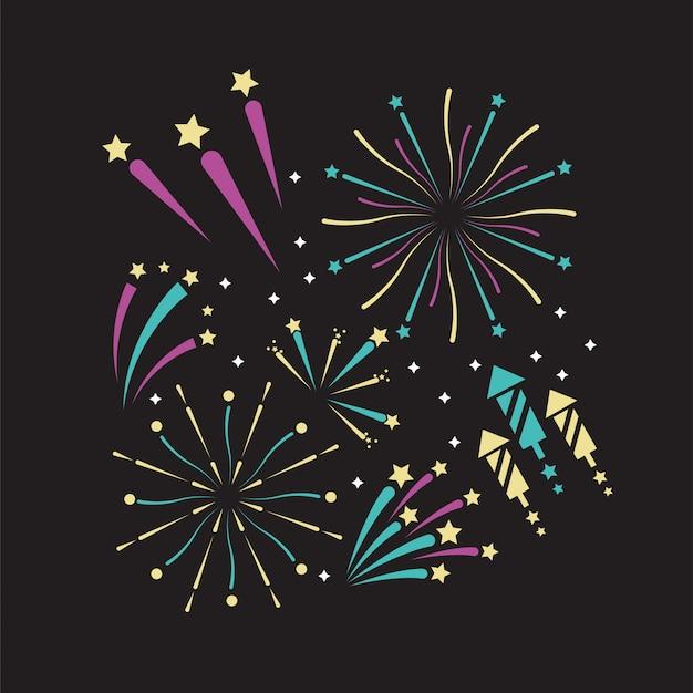 Het vuurwerkdecoratie van de nacht aan vieringsvakantie