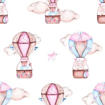 Het waterverf naadloze patroon met hete luchtballon draagt olifantsvogels