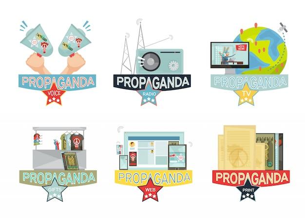 Het web van de stem massa-media en gifs propagandapictogrammen geplaatst die op witte achtergrond worden geïsoleerd
