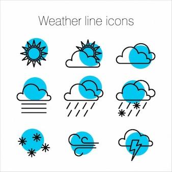 Het weer in lijn iconen