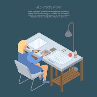 Het werkconcept van de architect in isometrische stijl