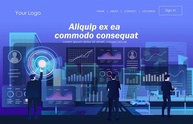 Het werkteam analyseert gegevens en de verfijning van digitale transformatietechnologie