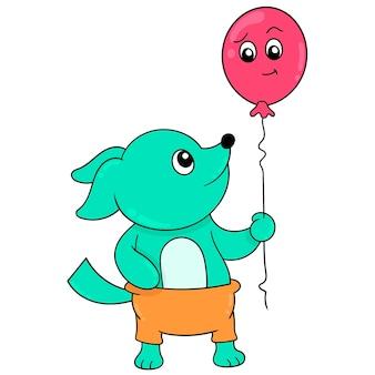 Het wezelkind is gelukkig met het dragen van een vliegende ballon, vectorillustratieart. doodle pictogram afbeelding kawaii.