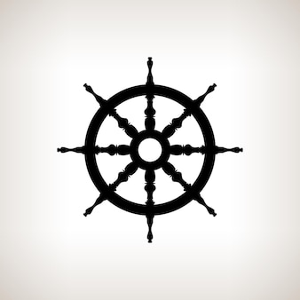 Het wiel van het silhouetschip op een lichte achtergrond, zwart-witte vectorillustratie