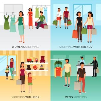 Het winkelen conceptenpictogrammen die met vrouwen en mannen het winkelen symbolen vlakke geïsoleerde vectorillustratie worden geplaatst