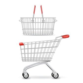 Het winkelen karretje en mand op wielen geïsoleerd