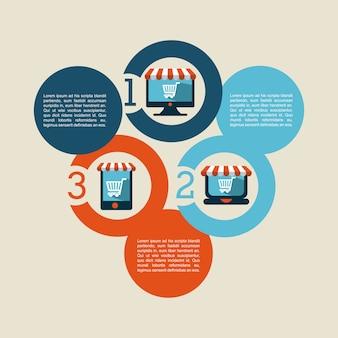 Het winkelen ontwerp over bruine vectorillustratie als achtergrond