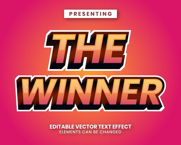 Het winnaarwoord met bewerkbaar teksteffect met een levendig verloop