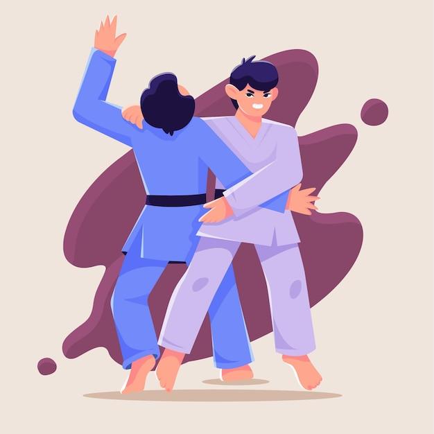 Het winnen en verliezen van jiu-jitsu-gevecht