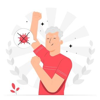 Het winnen van de strijd tegen coronavirus concept illustratie