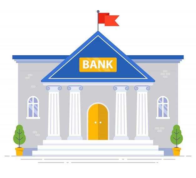 Het witte bankgebouw met kolommen en vlag op het geïsoleerde dak. vlakke afbeelding