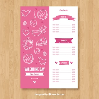 Het witte en roze concept van het valentijnskaartmenu