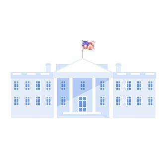 Het witte huis in washington met nationale vlag van de vs. huis van de amerikaanse regering, congres en residentie.