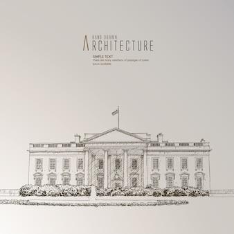 Het witte huis met de hand getekend
