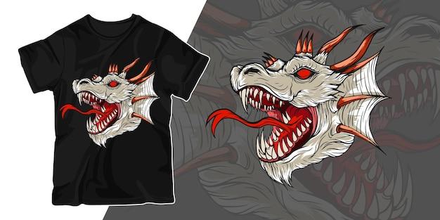 Het witte ontwerp van de de illustratiet-shirt van het draakkunstwerk