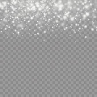 Het witte stof vonkt en ster schijnt met speciaal licht, sprankelende magische stofdeeltjes geïsoleerd op transparante achtergrond, schijnt lichten, schittert,