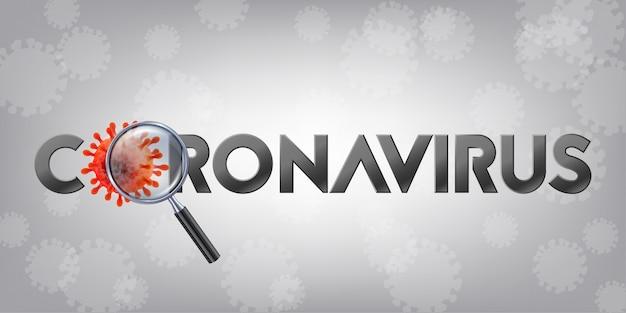 Het woord coronavirus met covid-19-pictogram en virusachtergrond met ziektecellen