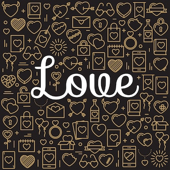 Het woord liefde omringd door iconen en harten