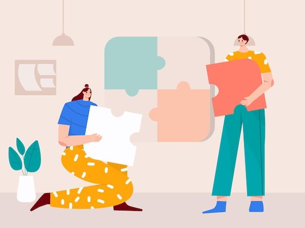 Het zakelijke team dat een puzzel geïsoleerde vlakke afbeelding samenstelt