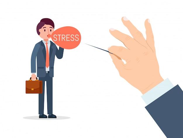 Het zakenmankarakter onder spanning, de rug van de handgreep prikt ballon op wit, illustratie wordt geïsoleerd die. beambtetribune met aktentas.