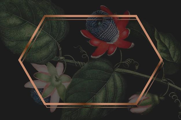 Het zeshoekige frame met gevleugelde passiebloem