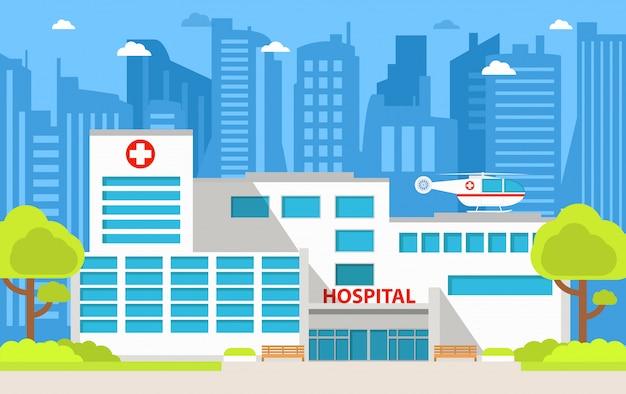 Het ziekenhuisgebouw met helikopter