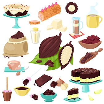 Het zoete voedsel van chocoladechoco van cacaobonen of cacaopoeder voor drankillustratiereeks tropisch fruit en cake of gebak op witte achtergrond
