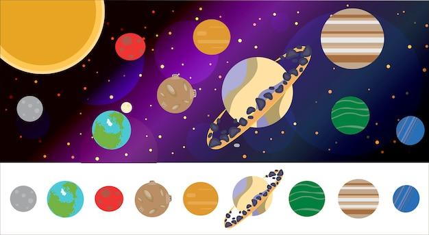 Het zonnestelsel met alle planeten in een platte cartoonstijl vectorillustratie