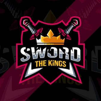 Het zwaard koning mascotte logo esports ontwerpsjabloon