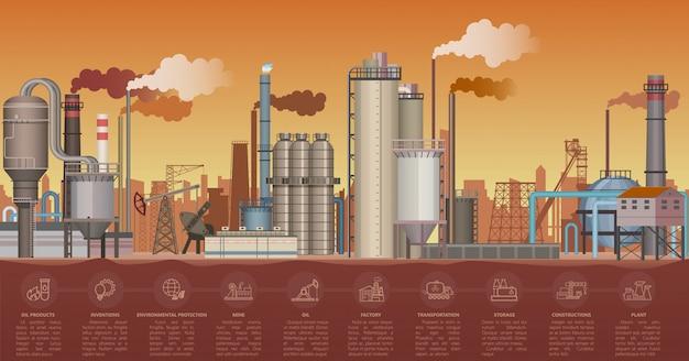 Het zware industriële landschap van fabrieksgebouwen. illustratie met infographic pictogrammenelementen. pijpen van de fabriek vervuilende omgeving.