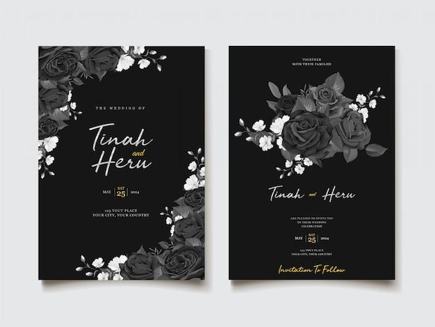 Het zwarte thema van de waterverf bloemenuitnodiging