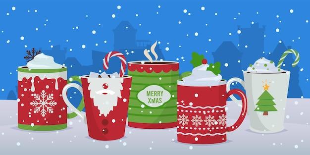 Hete drankjes. winter kerst mokken achtergrond, vakantie cacao koffie chocolade. nieuwjaar feestelijke decoratie vectorillustratie. kerstdrankmok, vakantiedrankchocolade