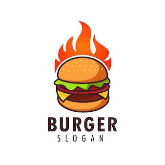 Hete hamburger logo ontwerpsjabloon
