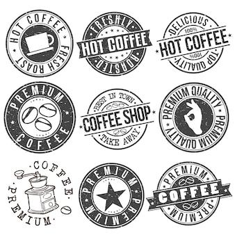 Hete koffie drinken cafetaria stempel vector ontwerpset