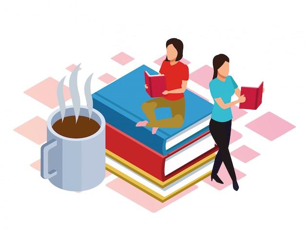 Hete koffiemok en vrouwen die rond op wit lezen