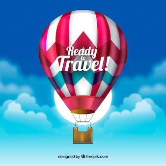 Hete lucht ballon achtergrond in realistische stijl